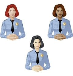 Woman in police uniform contact person vector