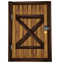 wooden door with one padlock vector image vector image