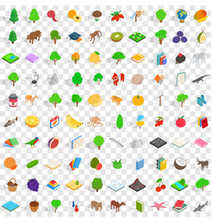 100 fauna icons set isometric 3d style vector