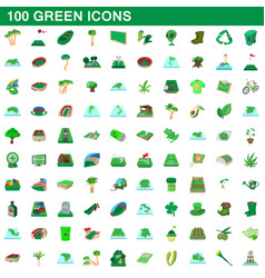 100 green icons set cartoon style vector