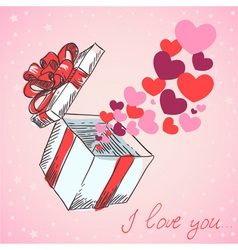 Valentines hearts fly out of the gift box vector image