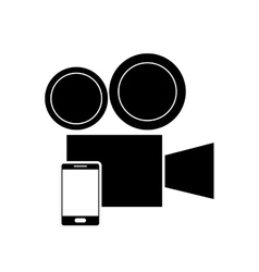 Film projector and cellphone icon vector