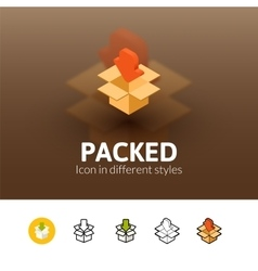 Packed icon in different style vector