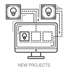 New projects line icons vector