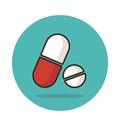 Medical pill flat icon medication sign vector