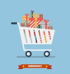 Shopping cart with piles of presents vector