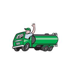 6 wheeler tanker truck driver waving cartoon vector image