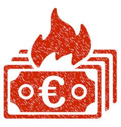 burn euro banknotes icon grunge watermark vector image