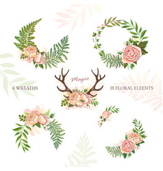 Collection of holiday wreaths rustic magic floral vector