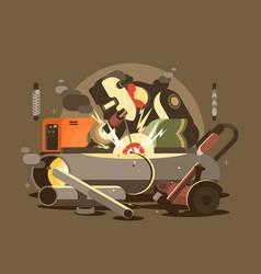 man welder in mask vector image
