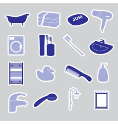 bathroom stickers set eps10 vector image