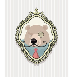 Portrait of a bear with a mustache wearing glasses vector