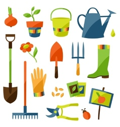 Set of garden design elements and icons vector