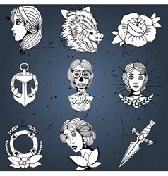 Tattoo designs set vector