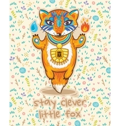 Stay clever cute card with little fox vector