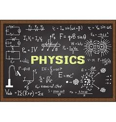 Physics elements on chalkboard vector image