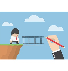 Big hand drawing a bridge for help businessman to vector