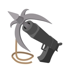 Gun with grappling hook cartoon vector