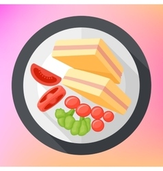Triangular club sandwich icon vector