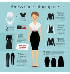 Business woman clothes infographics vector
