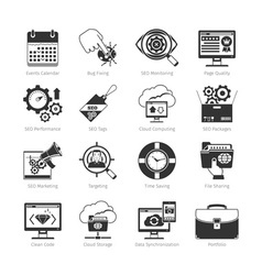 Web development and seo black icons vector