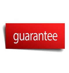Guarantee red square isolated paper sign on white vector