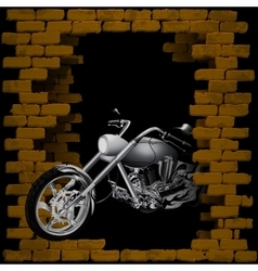 Motorbike chopper in breaking the brick wall vector