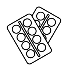 Pills in package icon outline style vector