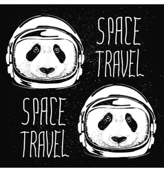 Space helmet panda pattern vector