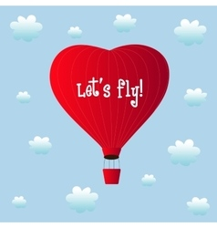 Aerostats heart red flying in clouds vector