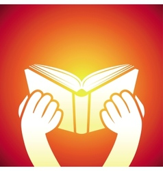 book icon - hands holding textbook vector image vector image