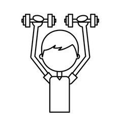Boy exercising with dumbells vector