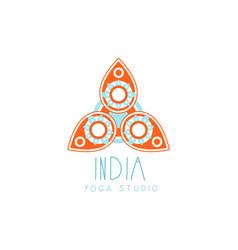 Creative yoga floral paisley logo vector