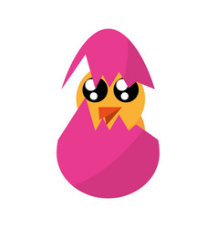 Cute chicken easter egg broken vector