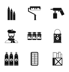 Drawing icons set simple style vector