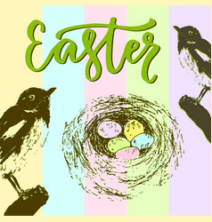 Easter card with bird nest and colorful eggs vector