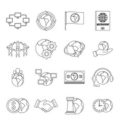 Global connections icons set outline style vector