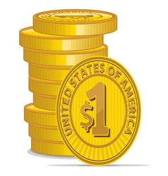 Golden coins with dollar sign vector