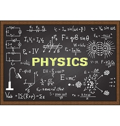 Physics elements on chalkboard vector