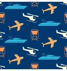 Seamless pattern with transportation icons vector