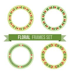 Set of design elements - round floral frames vector