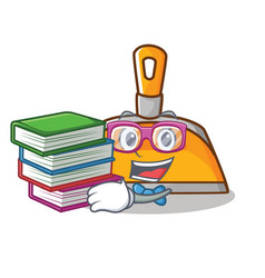 Stuent with book dustpan character cartoon style vector