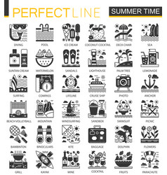 Summer time vacation black mini concept icons and vector