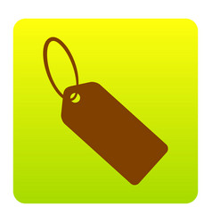 Tag sign brown icon at green vector