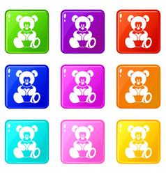 teddy bear holding a heart icons 9 set vector image