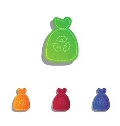 Trash bag icon Colorfull applique icons set vector image vector image
