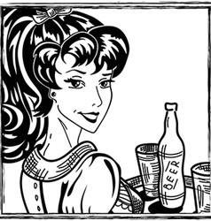 Waitress portrait vector