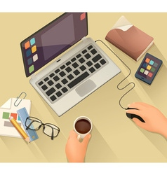 Workplace background flat design vector image vector image