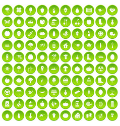 100 garden icons set green circle vector