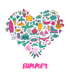 Summer heart design made of doodle season elements vector